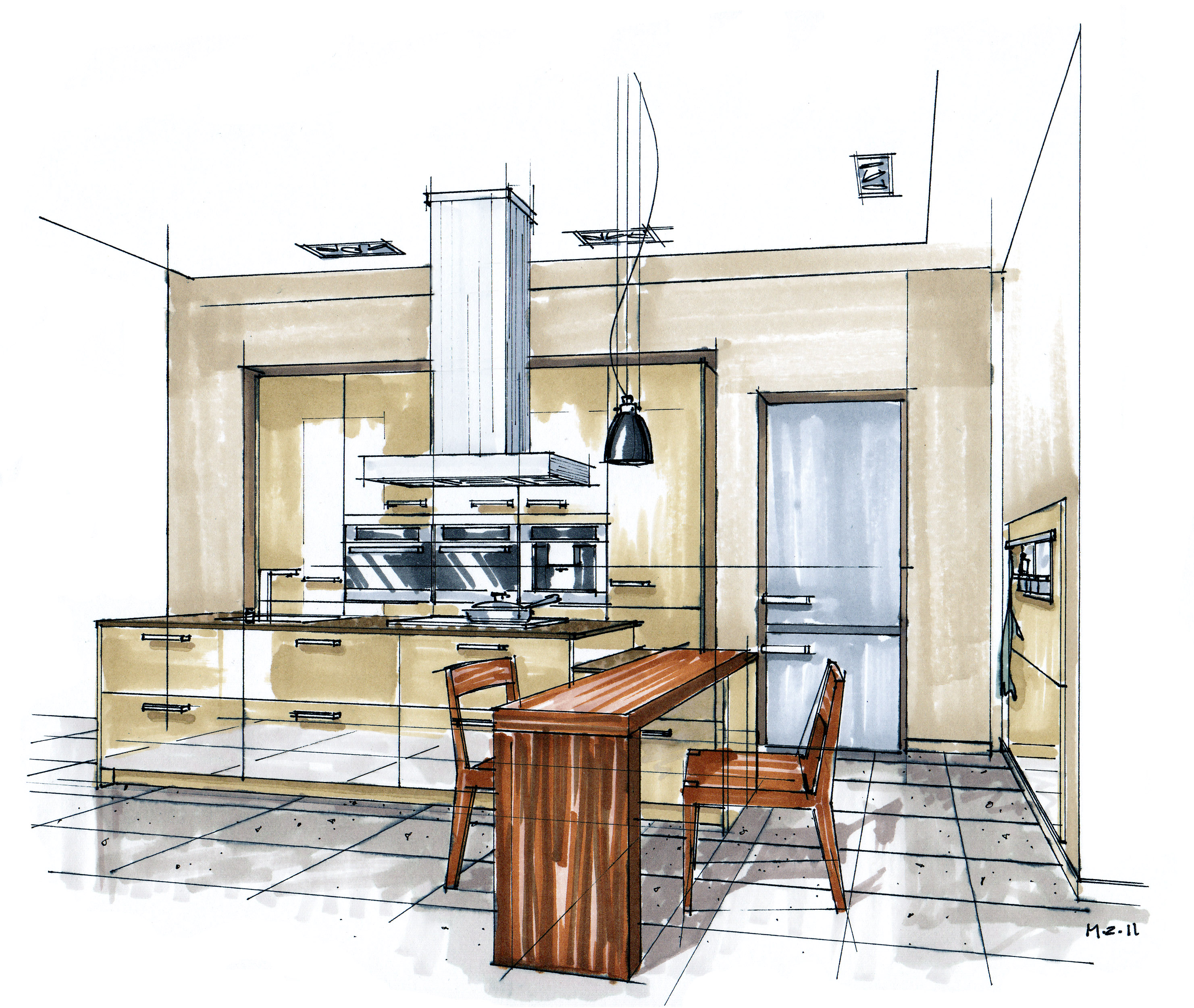 Kitchen Design Drawing With Color: Mick Ricereto Interior + Product Design