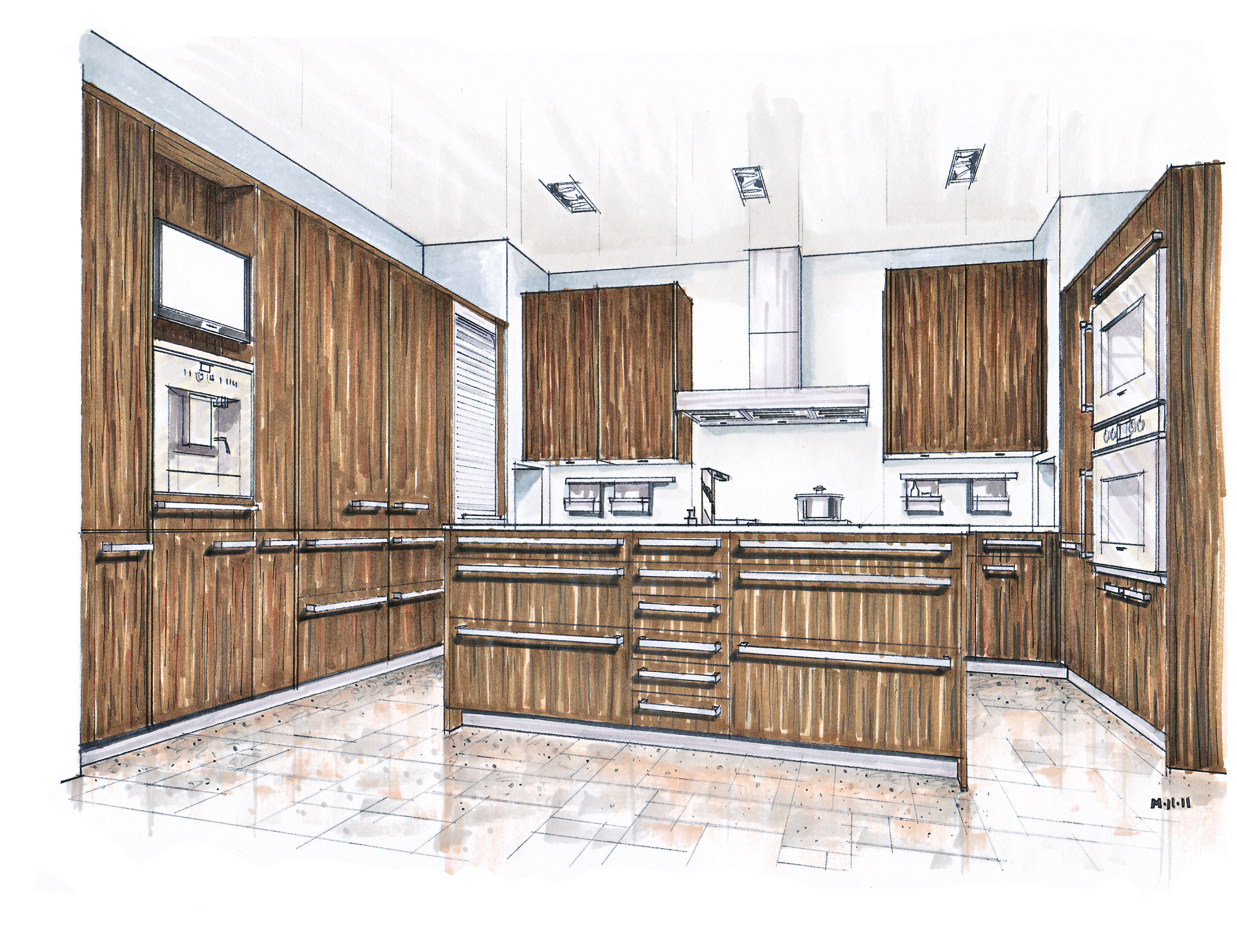 December 2011 mick ricereto interior product design for Kitchen set drawing
