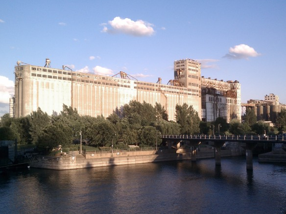 A walking tour of Vieux Montreal by Mick Ricereto - the old grain elevators of the old port on the Lachine canal.